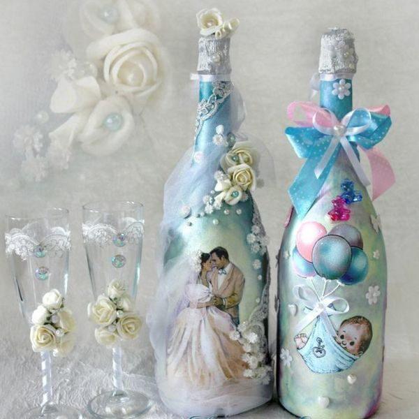 декупаж свадебного шампанского