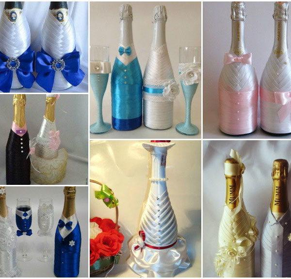 как украсить свадебное шампанское
