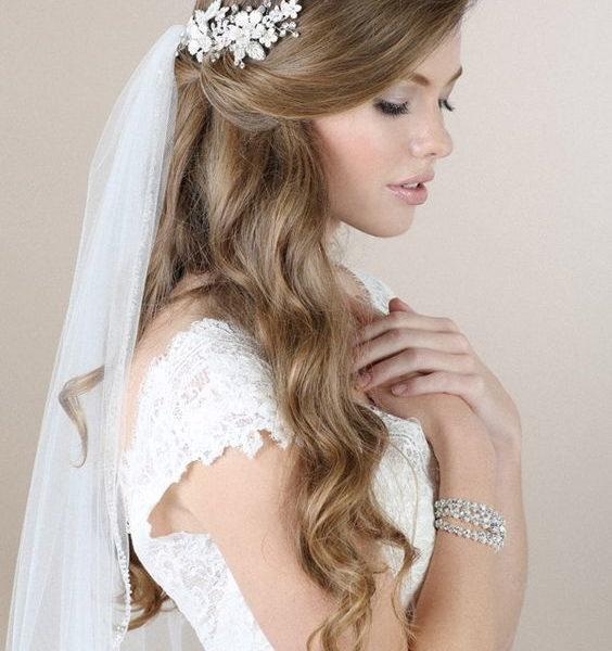 свадебные прически с фатой на длинные волосы